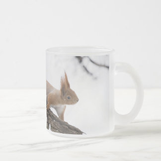 Squirrel Frosted Glass Coffee Mug