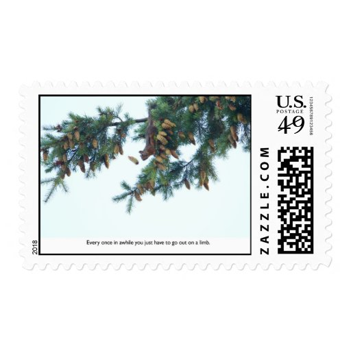 Squirrel Going Out on a Limb Stamp