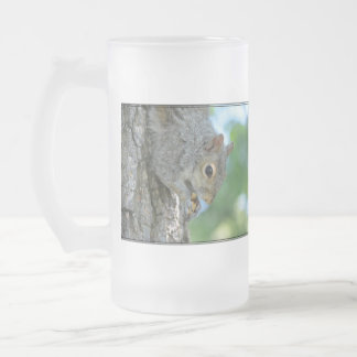Squirrel Hanging in A Tree Frosted Glass Beer Mug