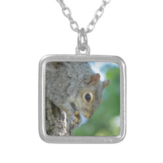 Squirrel Hanging in A Tree Square Pendant Necklace