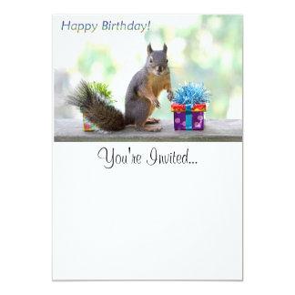 Squirrel Happy Birthday! 5x7 Paper Invitation Card