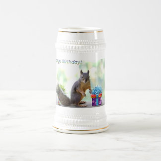 Squirrel Happy Birthday! Beer Stein