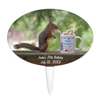 Squirrel Happy Birthday Cake Toppers