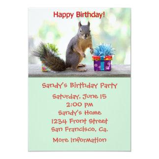 Squirrel Happy Birthday Invitations