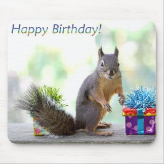 Squirrel Happy Birthday! Mouse Pad