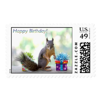 Squirrel Happy Birthday! Postage Stamps