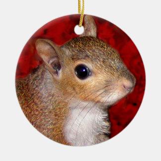 Squirrel Head Ceramic Ornament