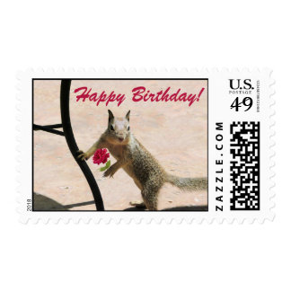 Squirrel Holding a Rose Birthday Greeting Card Stamp