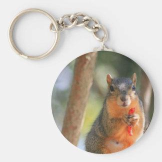 Squirrel Holding Cheese Puff Keychain