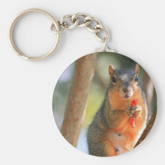 Squirrel Holding Cheese Puff Keychain