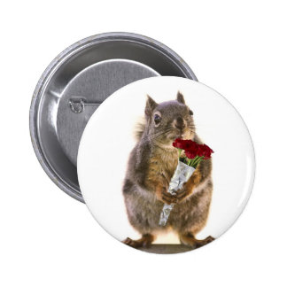 Squirrel Holding Red Rose Bouquet Buttons