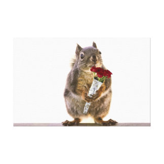 Squirrel Holding Red Rose Bouquet Canvas Prints