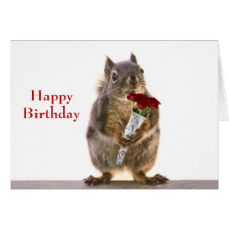 Squirrel Holding Red Rose Bouquet Card