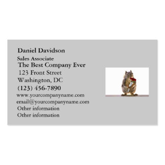 Squirrel Holding Red Rose Bouquet Double-Sided Standard Business Cards (Pack Of 100)