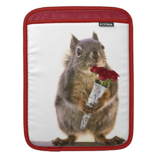Squirrel Holding Red Rose Bouquet Sleeve For iPads