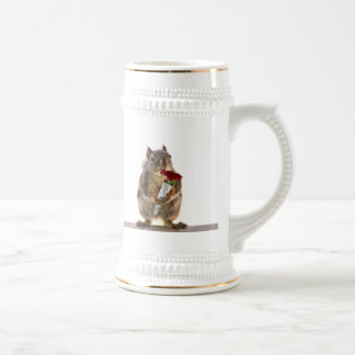 Squirrel Holding Red Rose Bouquet Mug