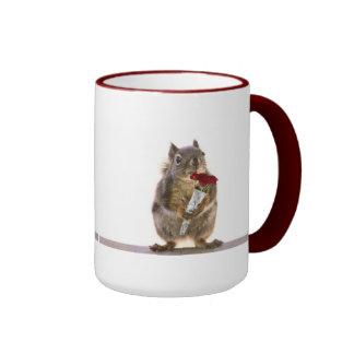 Squirrel Holding Red Rose Bouquet Ringer Mug