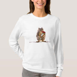 Squirrel Holding Red Rose Bouquet T-Shirt