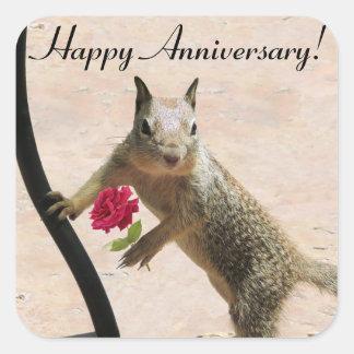 Squirrel Holding Rose Anniversary Sticker
