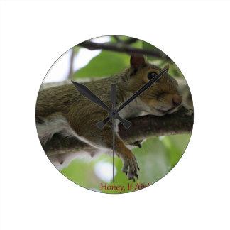"Squirrel - ""Honey, It Ain't Easy Being a Women"" Round Wallclock"