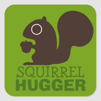 Squirrel Hugger Square Sticker