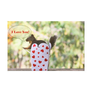 "Squirrel ""I Love You"" Valentine Canvas Prints"