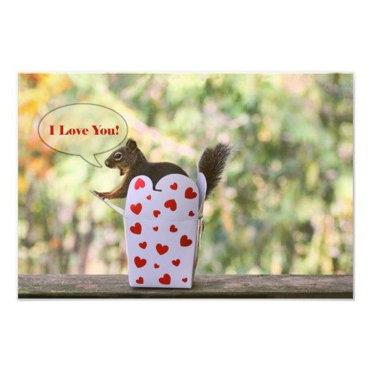 "Squirrel ""I Love You"" Valentine Photo Print"