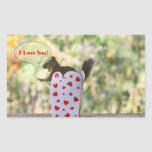 "Squirrel ""I Love You"" Valentine Rectangular Stickers"