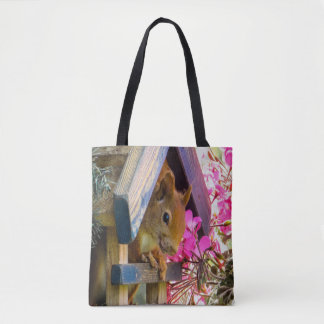 Squirrel In A Birdhouse Tote Bag