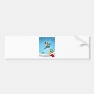 Squirrel in a Christmas paper aeroplane Bumper Sticker
