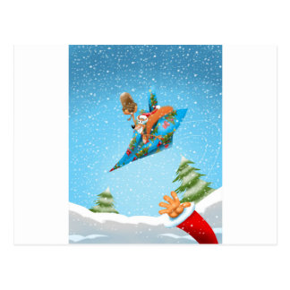 Squirrel in a Christmas paper aeroplane Postcard