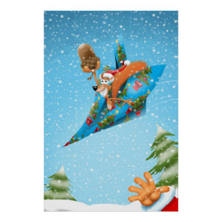 Squirrel in a Christmas wrapper paper plane Poster