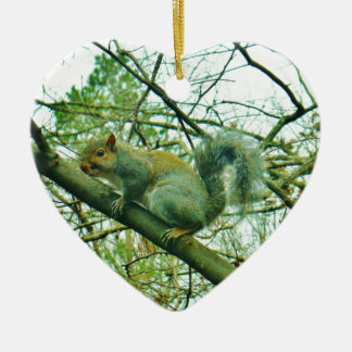 Squirrel in a Light Blue Mist Double-Sided Heart Ceramic Christmas Ornament