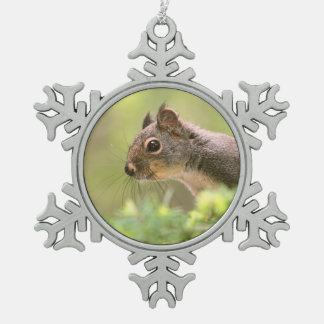 Squirrel in a Tree Snowflake Pewter Christmas Ornament