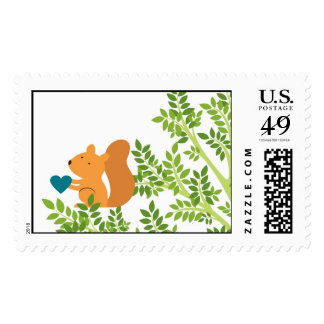 Squirrel in a tree with a heart postage