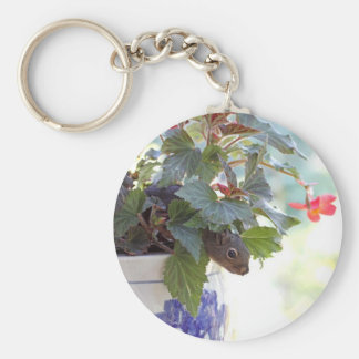 Squirrel in Flower Pot Keychain