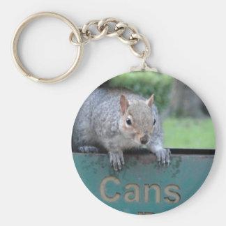 Squirrel in litter bin keychain