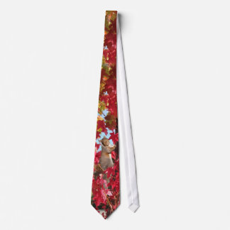 Squirrel in red autumn tree neck tie