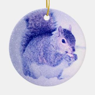 Squirrel in snow ceramic ornament