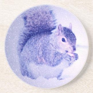 Squirrel in snow drink coaster