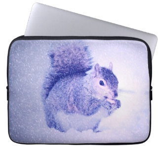 Squirrel in snow laptop sleeves