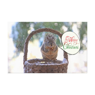 Squirrel in Snow Saying Merry Christmas Canvas Prints