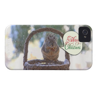 Squirrel in Snow Saying Merry Christmas Blackberry Case