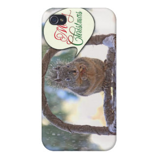 Squirrel in Snow Saying Merry Christmas Cover For iPhone 4
