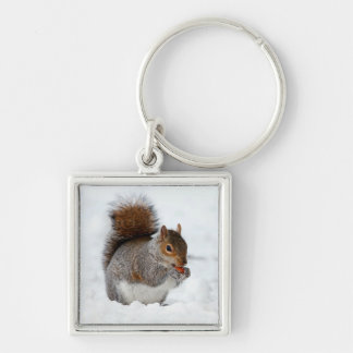 Squirrel in Snow with Berry Keychain