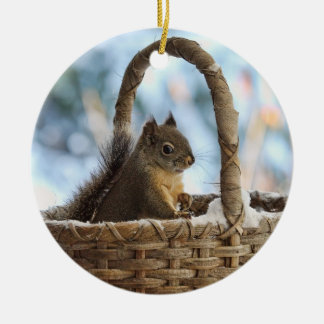 Squirrel in Snowy Basket in Winter Photo Christmas Ornaments