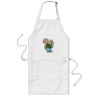 Squirrel in Suit Holding Cup of Coffee Apron