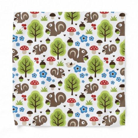 Squirrel in The Oak Forest Pattern Bandana