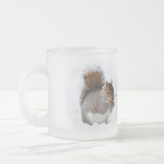 Squirrel in the Snow 10 Oz Frosted Glass Coffee Mug