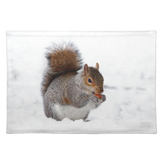 Squirrel in the Snow Cloth Placemat